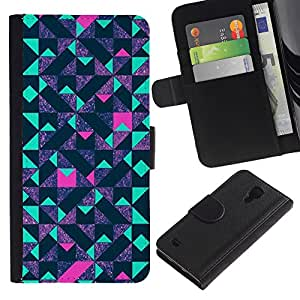 For SAMSUNG Galaxy S4 IV / i9500 / i9515 / i9505G / SGH-i337,S-type® Teal Pink Futurist Purple - Dibujo PU billetera de cuero Funda Case Caso de la piel de la bolsa protectora