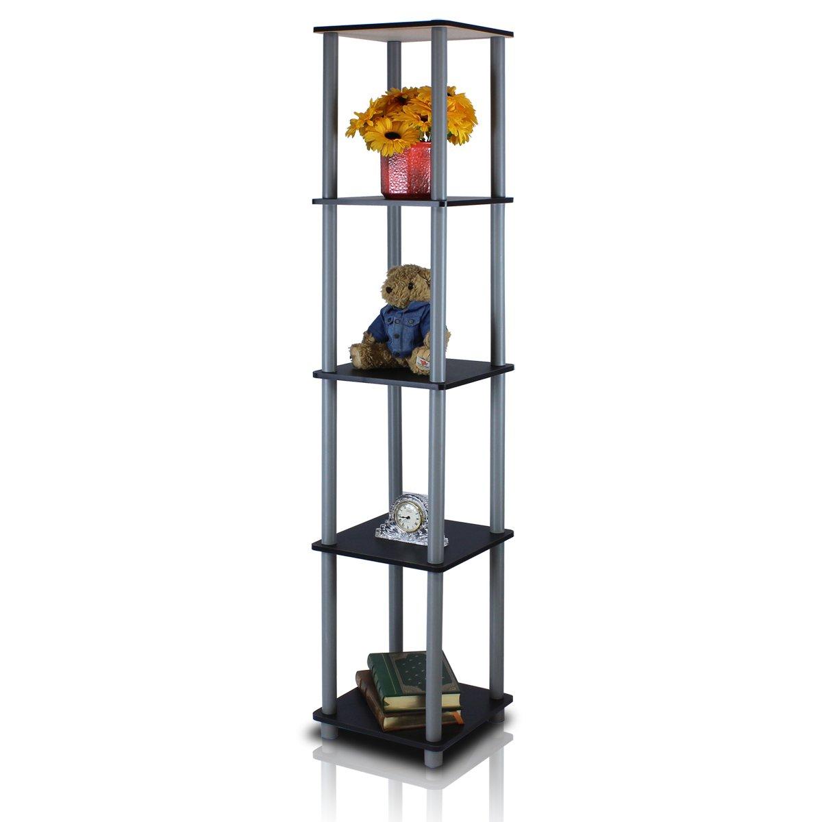 Furinno 99132BK/GY Turn-N-Tube 5-Tier Corner Square Rack Display Shelf, Black/Grey