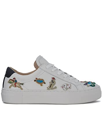 Cheap Sale Browse Sale Genuine MOA MASTER OF ARTS Moa Circus White Leather Sneakers With Embroidery nOuNQ