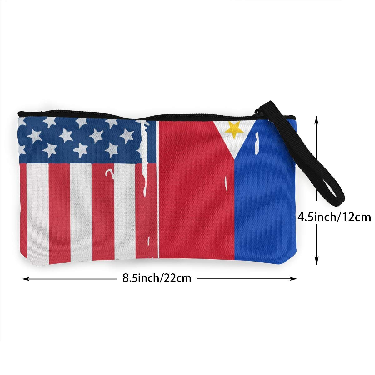 Make Up Bag TR7FD15DE American Philippines Flag Zipper Canvas Coin Purse Wallet Cellphone Bag With Handle