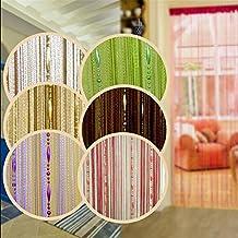 "(38"" W x 78.5""L )Dew Drop Beaded String Door Curtain Divider Window Room Blind Tassel Fly Screen (Coffee)"