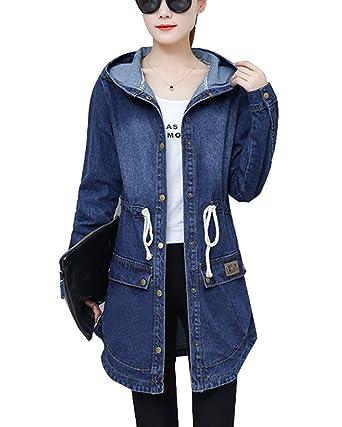 742b5bb374 GladiolusA Femme Denim Blousons Veste en Jeans Manteaux Longue avec Capuche  Bleu XL