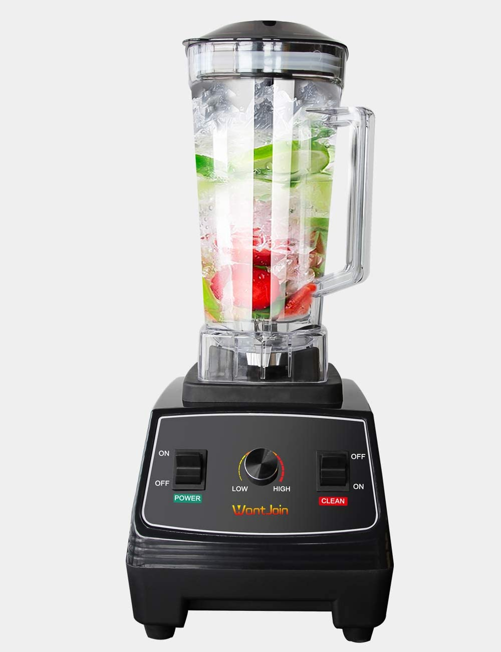 WantJoin Professional Blender, Countertop Blender 1800W, High Power Home and Commercial Blender with High Speed, Smoothie Maker 2200ml for Crusing Ice, Frozen Desser, Soup,fish (Glass)