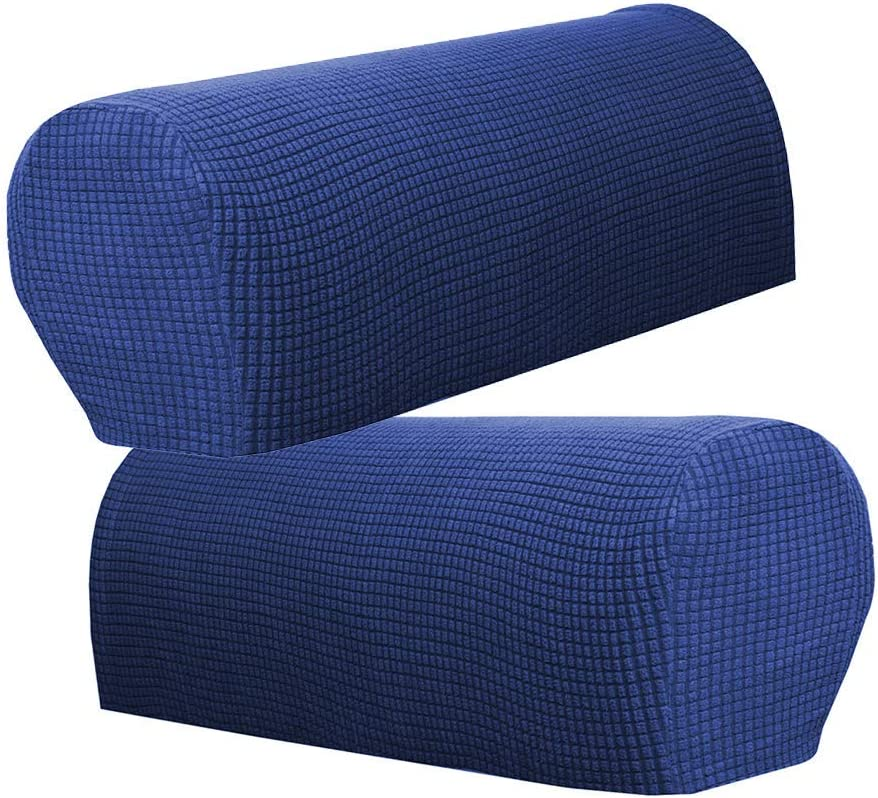 Inzopo Flannel Spandex Stretch Armrest Covers Set of 6 Couch Armchair Arm Protector Dark Blue Dark Blue
