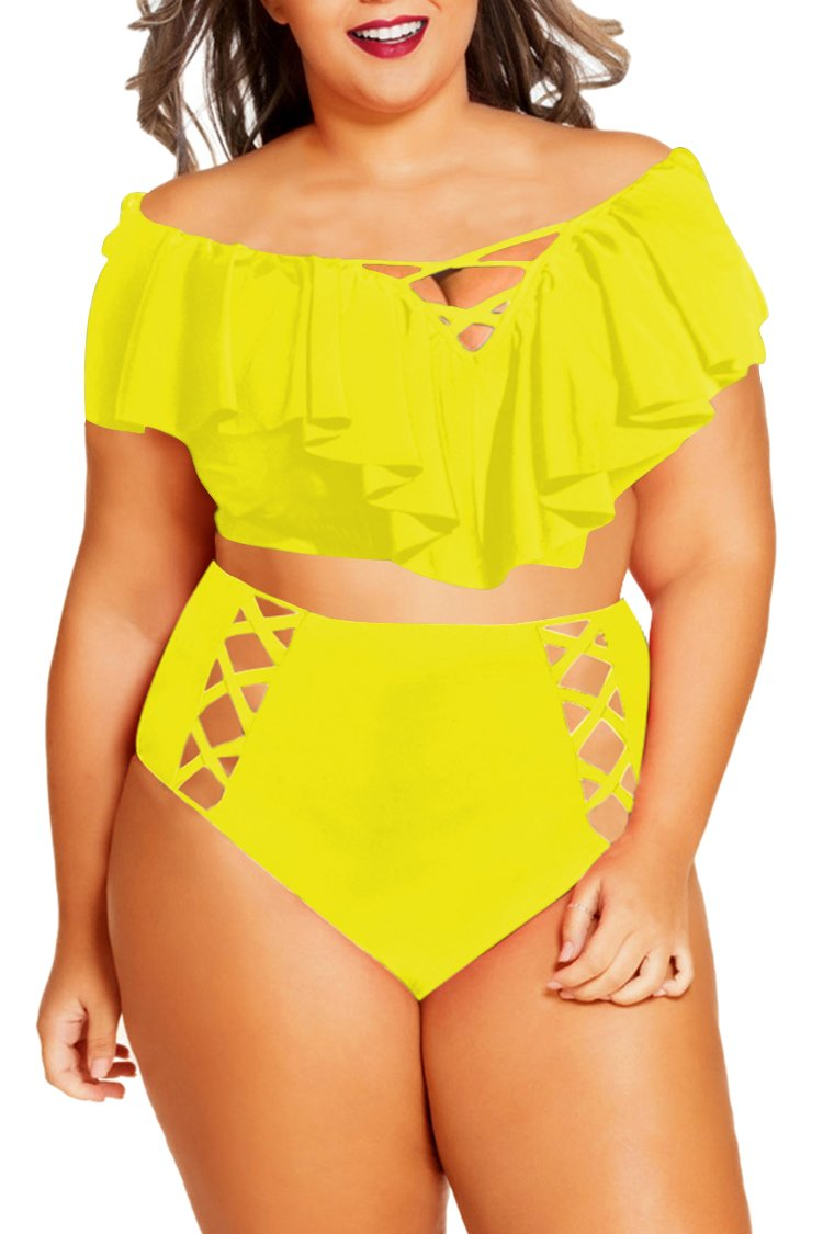 Womens Plus Size High Waist Two Piece Off Shoulder Color Block Bathing Suit Swimwear Swimsuit Yellow 4XL