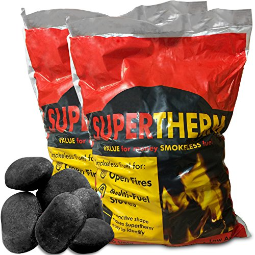 40kg of Supertherm Extra Hot Smokeless Coal Fire Fuel for Open Fires and Multi Fuel Log Burners & Tigerbox Safety Matches.