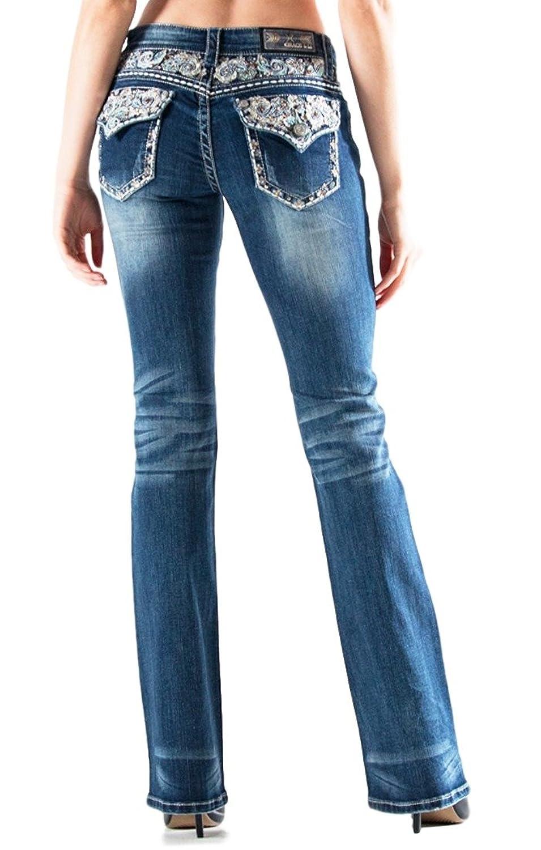 GRACE in LA Idol Paisley Medium Wash Boot Cut Denim Jeans
