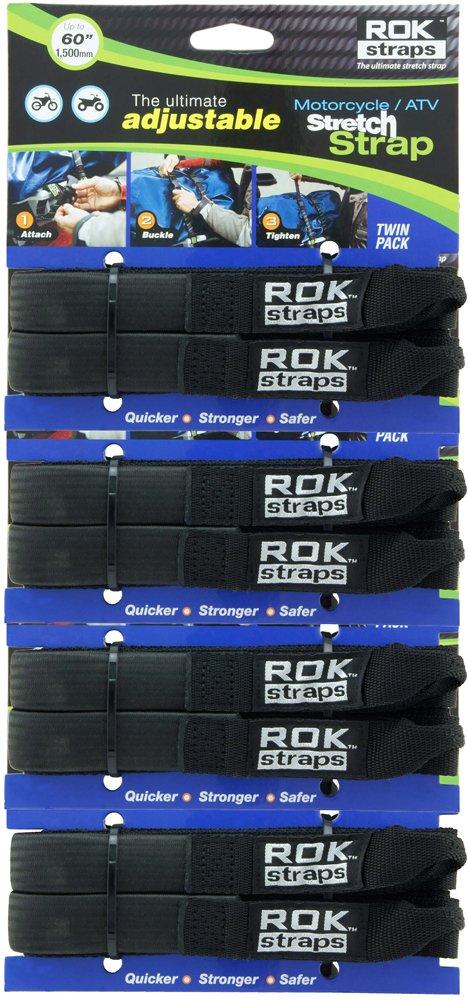 ROK Straps ROK-10025-4PR Black 18''- 60'' Motorcycle/ATV Adjustable Stretch Strap, 4 Pair