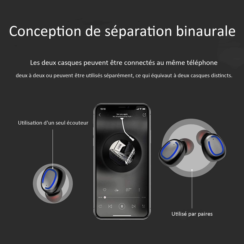 Auriculaires avec Micro Int/égr/é Ecouteur sans Fil TWS L/éger St/ér/éo /Écouteurs Bluetooth 5.0 BCL06PP XuanPad Ecouteur Bluetooth 25 Heures Playtime Etanche IPX6