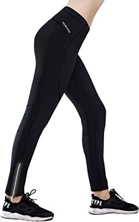 HISKYWIN Petite/Regular/Tall Womens Thermal Fleece Lined Cycling Tights Winter Running Leggings with Zip Pocket, Not Padded