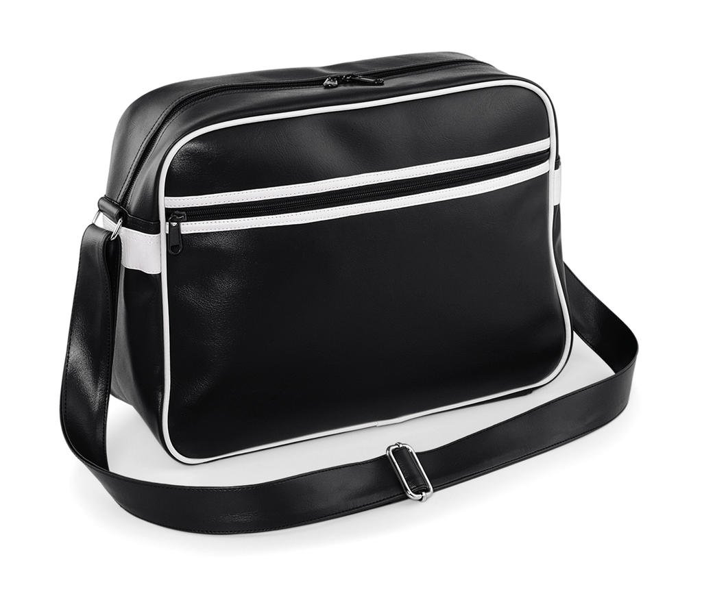 Bag Base Mixte Bg091bkwh Original Rétro Messenger Bg091, Noir/Blanc, Medium BagBase