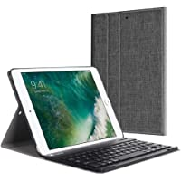 Fintie Bluetooth Tastatur Hülle für iPad 9.7 Zoll 2018 2017 / iPad Air 2 / iPad Air - Ultradünn leicht Ständer Keyboard Case mit magnetisch Abnehmbarer drahtloser Deutscher Tastatur, Denim dunkelgrau