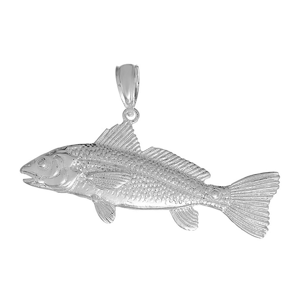 925 Sterling Silver Nautical Charm Pendant, 3D Red Fish
