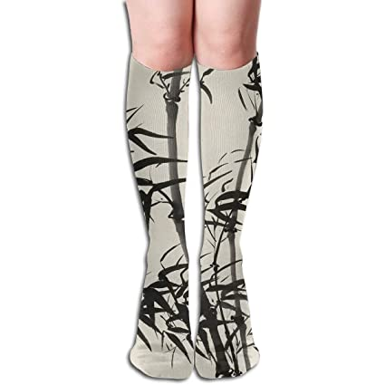 1d777417f1ceb Amazon.com: 19.68 Inch Compression Socks Bamboo Leaves High Boots ...