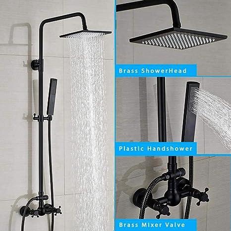 Set de ducha Set de grifería de ducha negra de bronce Columna de ...
