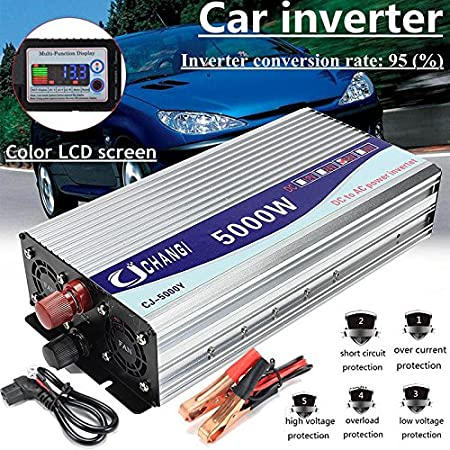 YWILLINK 5000W Multi-Function Power Inverter DC 12V//24V//48V to AC 220V Converter with LCD Display 24V
