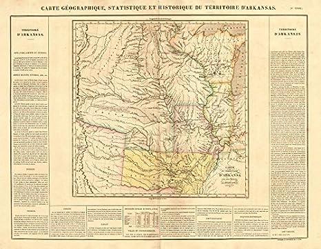 Amazon Com Territoire D Arkansas Us Midwest Gt Plains Explorers Routes Buchon 1825 Old Map Antique Map Vintage Map Arkansas Maps Posters Prints