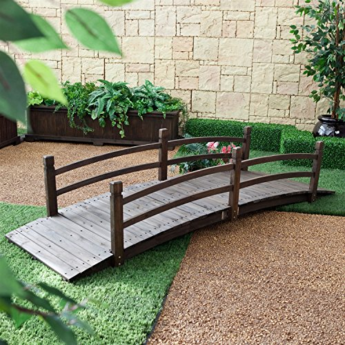 8Ft Outdoor Garden Bridge in Weather Resistant Fir Wood - Dark Brown Stain by Fast Furnishing