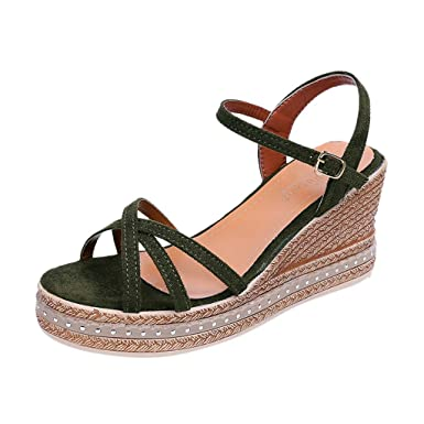 a37312c61c831 Amazon.com: Vibola Womens Casual Buckle Ankle Strap Rubber Sole ...