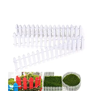"""Miniature Fairy Garden Fence,Wood Picket Fence Palisade,Decorative Fence Fencing for Outdoor or House Decor,Moss Framing Ornaments,DIY Micro-Landscape Plant Pots Bonsai Accessories,120"""" by 2"""",White"""