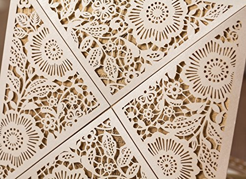 Wishmade 100X Square Laser Cut Wedding Invitations Kit With White Envelope and Envelope Seals Card Stock For Engagement Bridal Shower Birthday Baby Shower Party CW520_WH by Wishmade (Image #6)