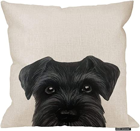 Hgod Designs Black Schnauzer Original Painting Dog Puppy Pillow Case Cover Cotton Linen 18x18 Inch Home Kitchen