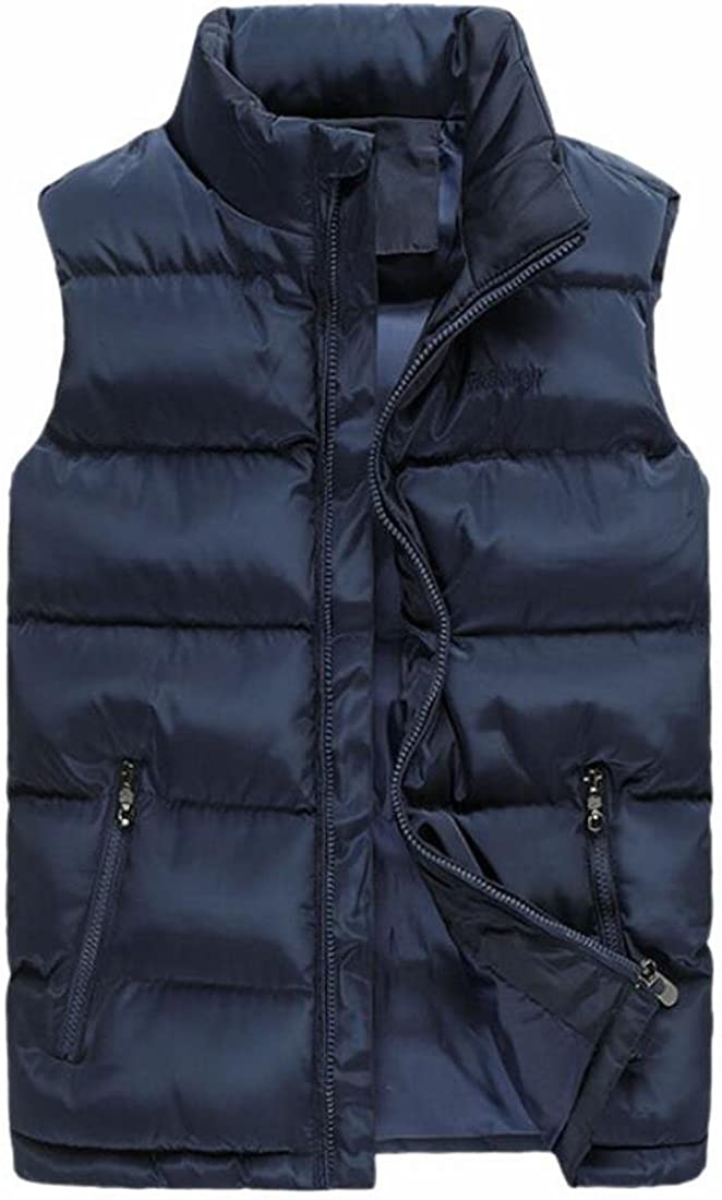 Ptyhk RG Mens Thick Stand Collar Winter Fashion Solid Coat Down Puffer Jacket Vest