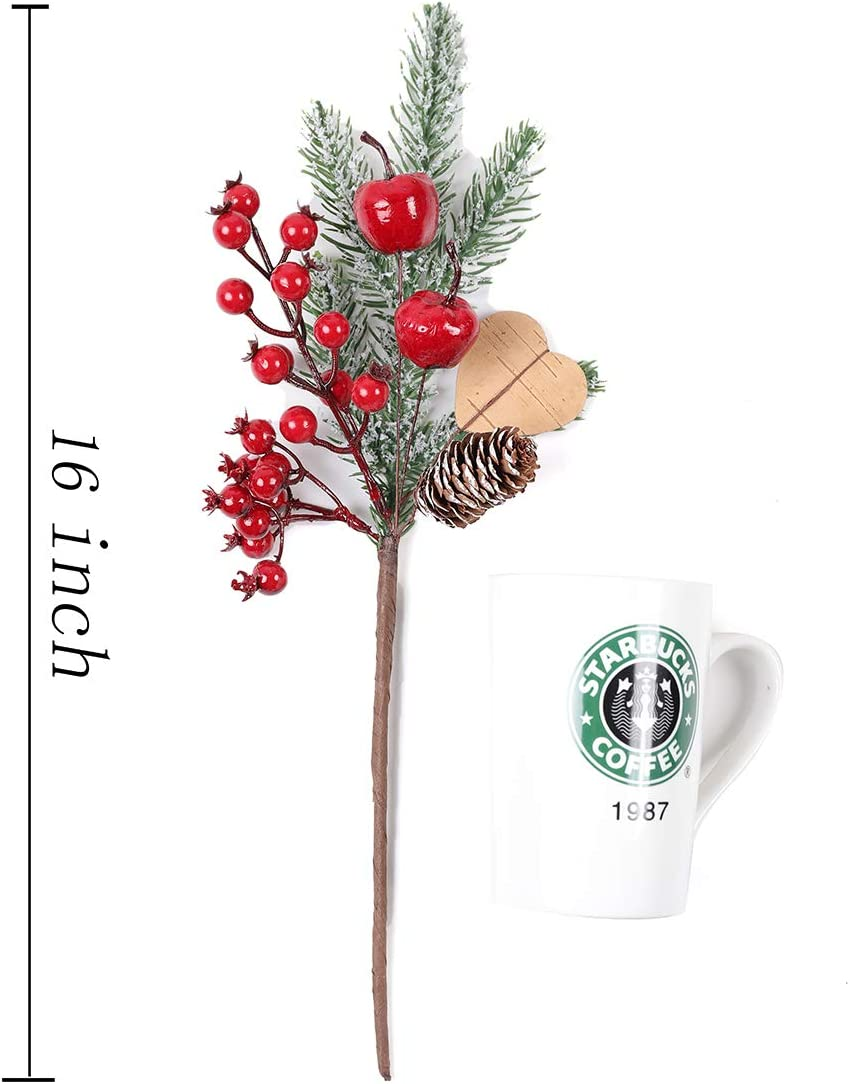 FLORRALIA Artificial Pine Picks Xmas Floral Red Berry Picks Stems for Xmas Tree Wreath Holiday Season Decor//set of 4