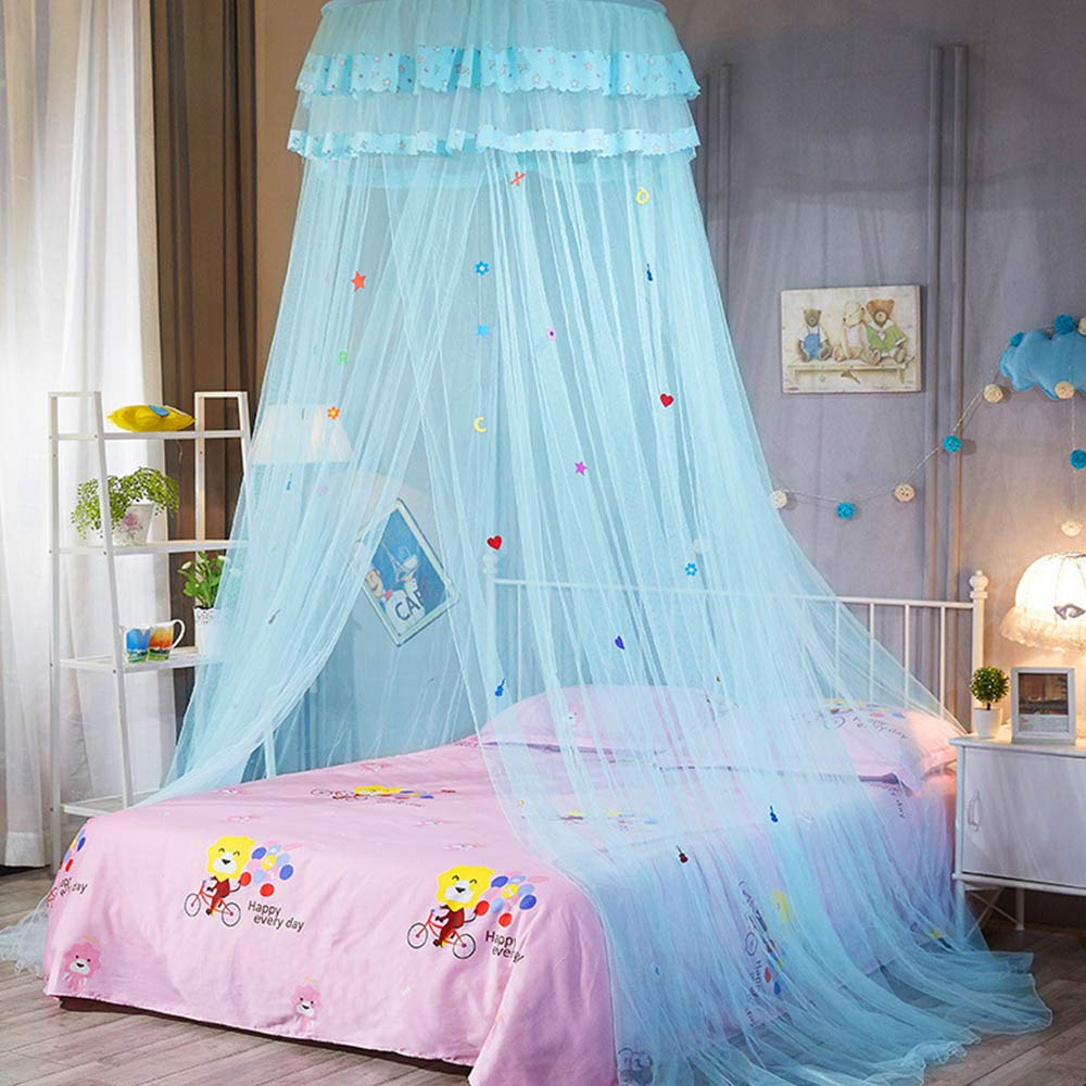 INFILM Girl ËŠs Bed Canopy Lace Round Dome Fairy Netting Curtain, Princess Play Tent Beding Hanging Mosquito Net House Decoration for Kids Playing Reading - Aqua Green