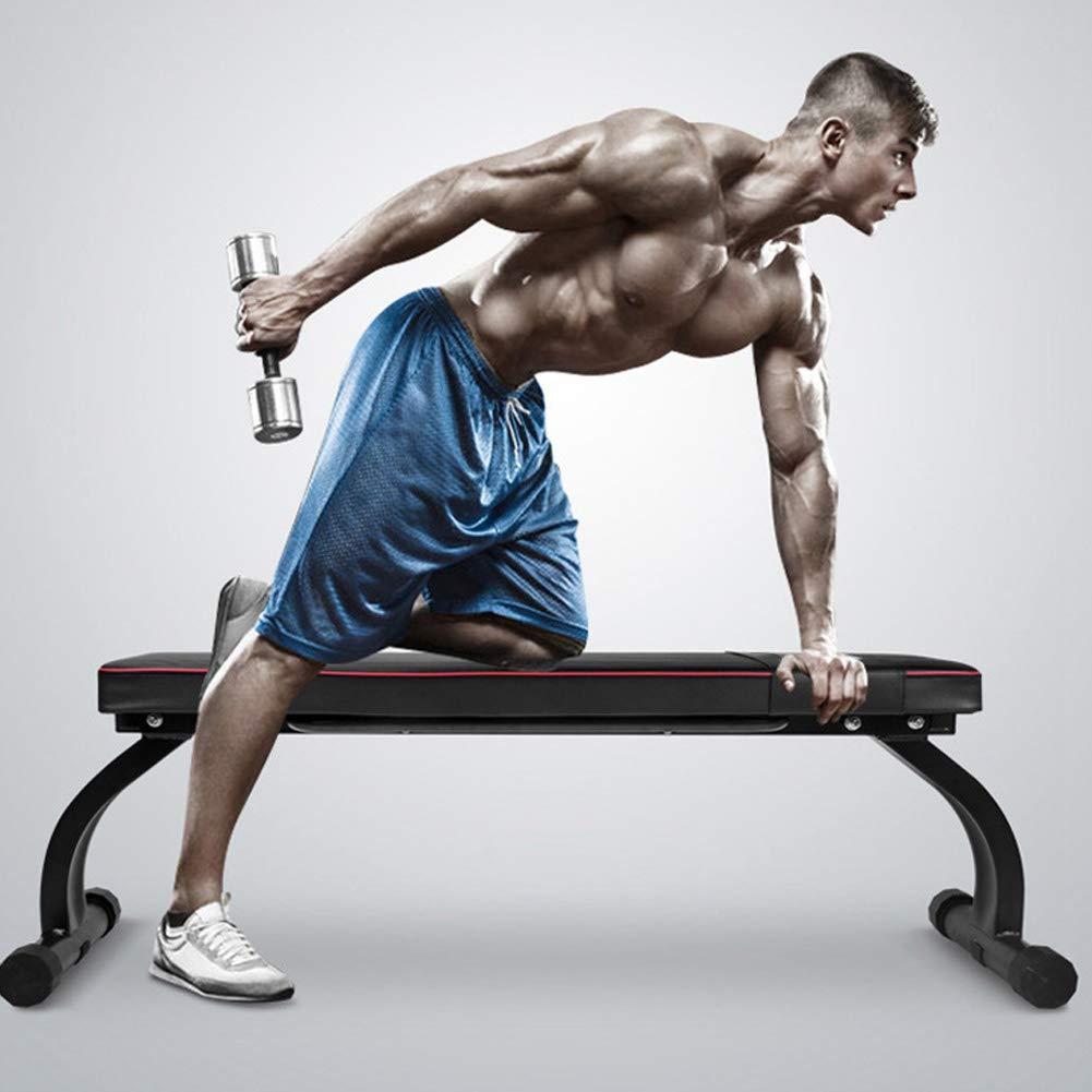 Zerone Banc de Musculation Plat pour halt/érophilie et Musculation Pieds Pliables pour Musculation et Exercices abdominaux 114,5 x 31 x 43,5 cm