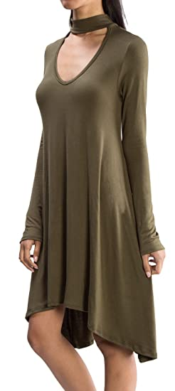 URBAN K Women s Mock Neck Choker Cutout Long and 3 4 Sleeve Tunic ... ed5277f1a