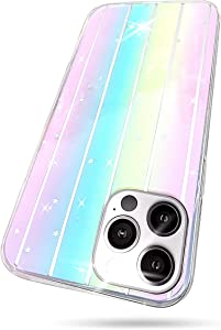 Compatible with iPhone 12 Pro Max Case for Women Clear, Bling Rainbow Colorful Glitter Star Sequins Gradient Luxury Girly Sparkle Cute Soft Slim TPU Protective Cover for Girls Cases Pink, 6.7 Inch