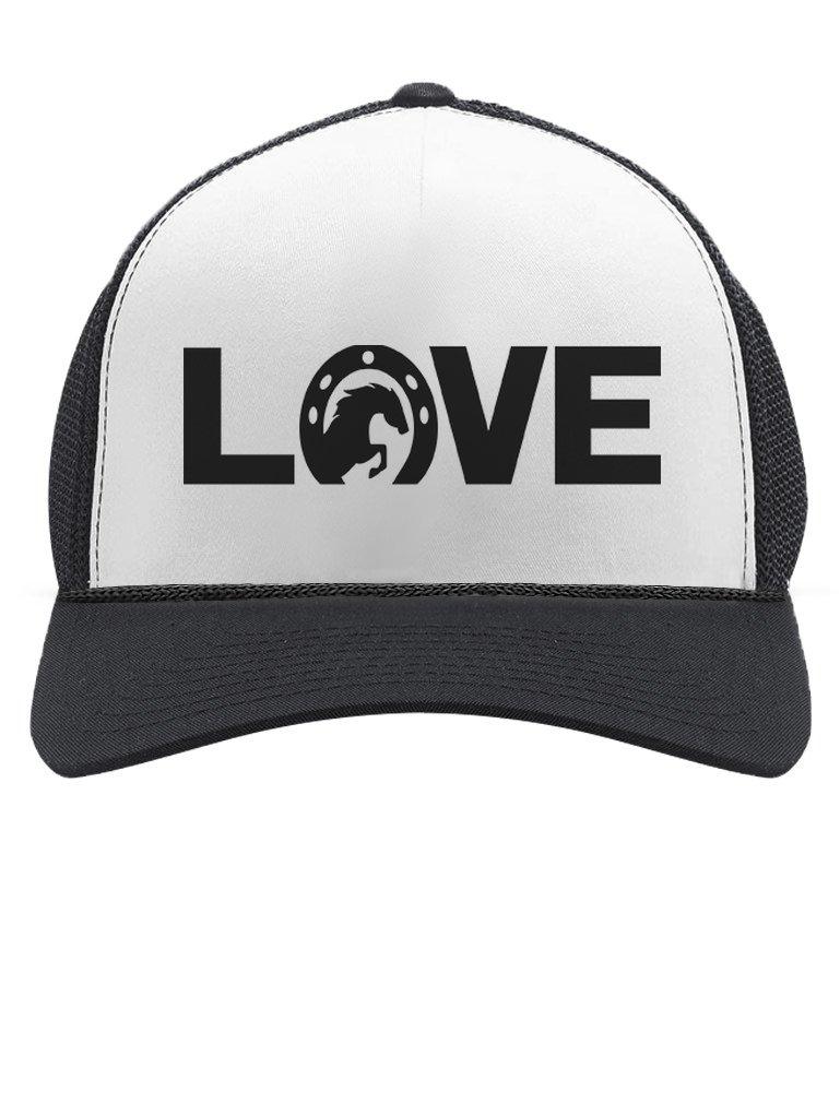 Love Horses - Animal Lover Rearing Horse - Horseshoe Trucker Hat Mesh Cap One Size Black/White