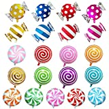 SOTOGO 21 Pieces Sweet Candy Balloons Set Including 13 Pieces 18 Round Lollipop Balloon Birthday Wedding Party Balloons and 8 Pieces 25 X 18 Candy Lollipop Balloons Aluminum Balloons for Birthday