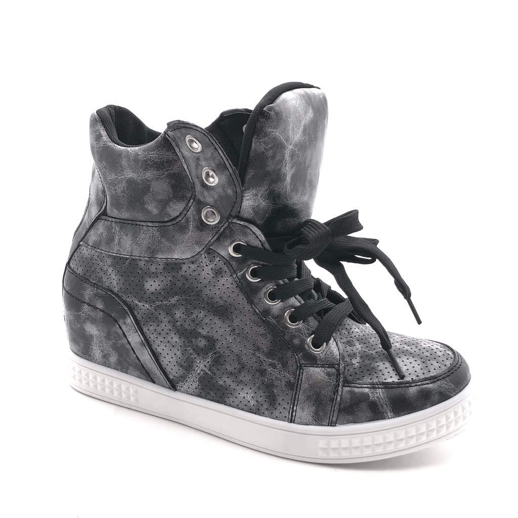 bb4381b448 Angkorly - Damen Schuhe Sneaker Keilabsatz - Hohe - Plateauschuhe -  Vintage-Stil - Perforiert - glänzende Keilabsatz high Heel 6 cm: Amazon.de:  Schuhe & ...