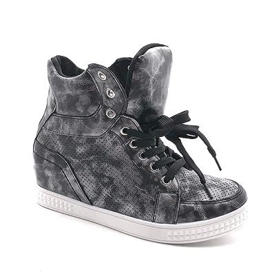 Angkorly - Scarpe Moda Sneaker Zeppa Alti Zeppe Stile Vintage Donna  Perforato Lucide Tacco Zeppa Piattaforma fea15fcba88