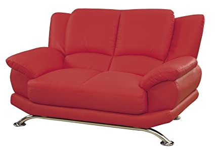Global Furniture Rogers Collection Bonded Leather Matching Love , Red with  Chrome Legs