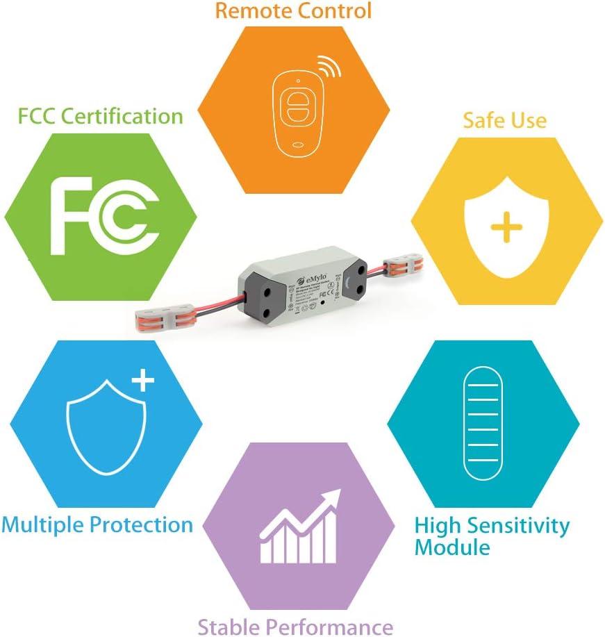 eMylo Smart Wireless RF Relay Switch 220V 1 canaux T/él/écommande Switch 90-250V Home Automation 433Mhz avec deux /émetteurs 6 pack
