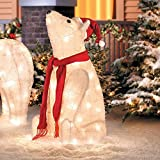 32'' Outdoor Sitting Polar Bear Christmas Yard Lawn Decoration Sculpture
