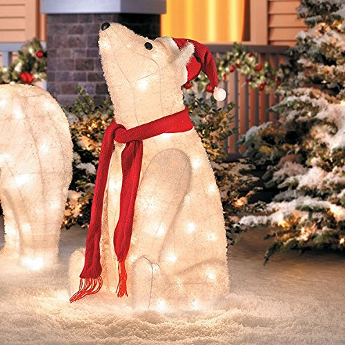 32'' Outdoor Sitting Polar Bear Christmas Yard Lawn Decoration Sculpture by Home Improvements Holiday