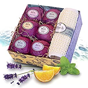 Bath Bombs Gift Set By Blush Personal Care, Made in the USA. Moisturizer For Dry Skin And Stress Relief. Kit Includes 6 Large Bombs All Natural Lush Ingredients.