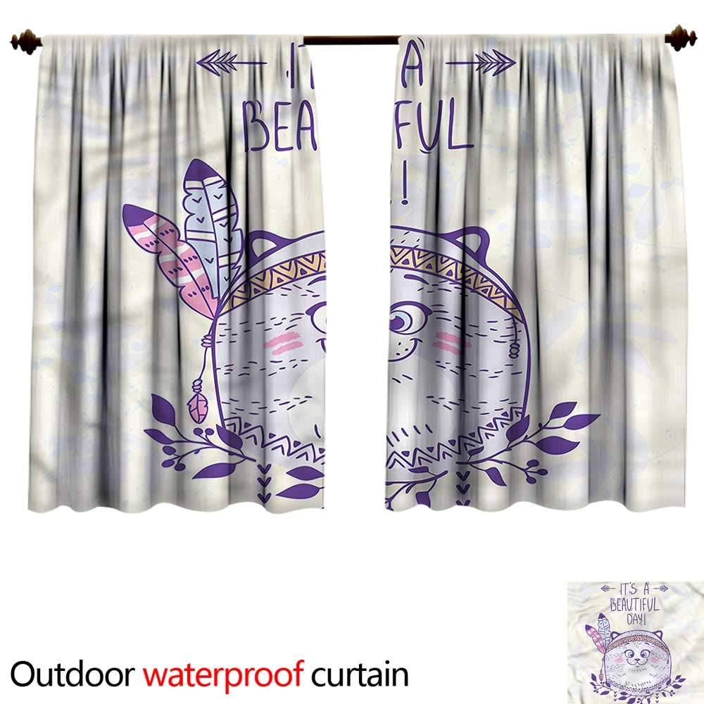 color17 W84\ color17 W84\ BlountDecor UPF Outdoor curtainAnti-Water W84 x L72(214cm x 199cm) Cat,Hippie Cat with Tribal Feathers