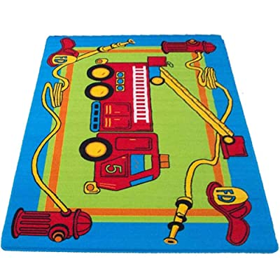 MYBECCA's Kids Rug Junior FIRE Fighting Truck Playtime Area Rug 3ft X 5ft for Nursery and Playroom: Kitchen & Dining