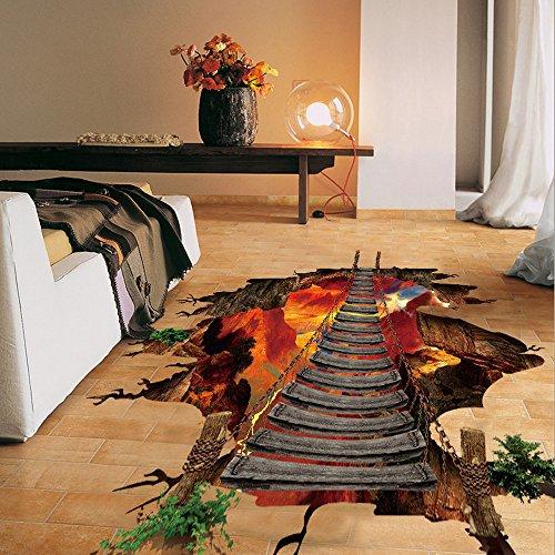 Kemilove 3D Stream Floor Wall Sticker Removable Mural Decals Vinyl Art Living Room Decor (VolcanoLand)