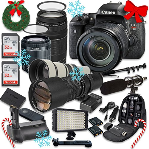 Canon EOS Digital Rebel T6s 24.2MP SLR Digital Camera with Canon EF-S 18-55mm f/3.5-5.6 IS STM Lens + Canon EF 75-300mm f/4-5.6 III Lens + 500mm f/8 Telephoto Preset Lens + 650-1300mm f/8-16 Lens