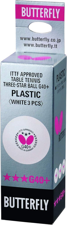 Butterfly Unisex 3Super (Pack de 3) G40+ 3Star Pelota de Tenis de Mesa ITTF de plástico Blanco, tamaño estándar