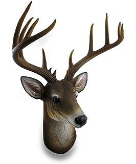 Zeckos Resin Wall Sculptures 12 Point Buck Deer Head Bust Wall Hanging 18 X  23.5 X