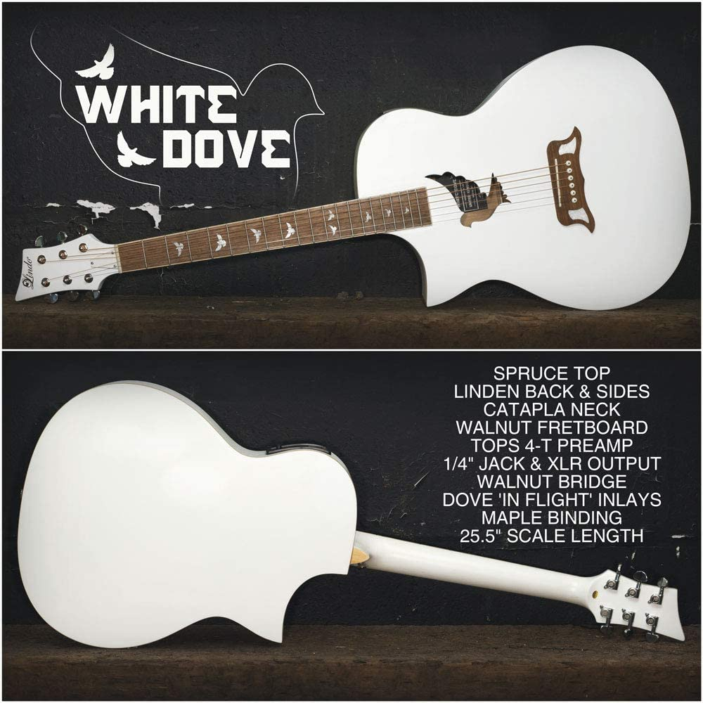 Lindo Left Handed White Dove V2 Spruce Top Electro Acoustic Guitar with Preamp//Tuner /& Padded Gig Bag