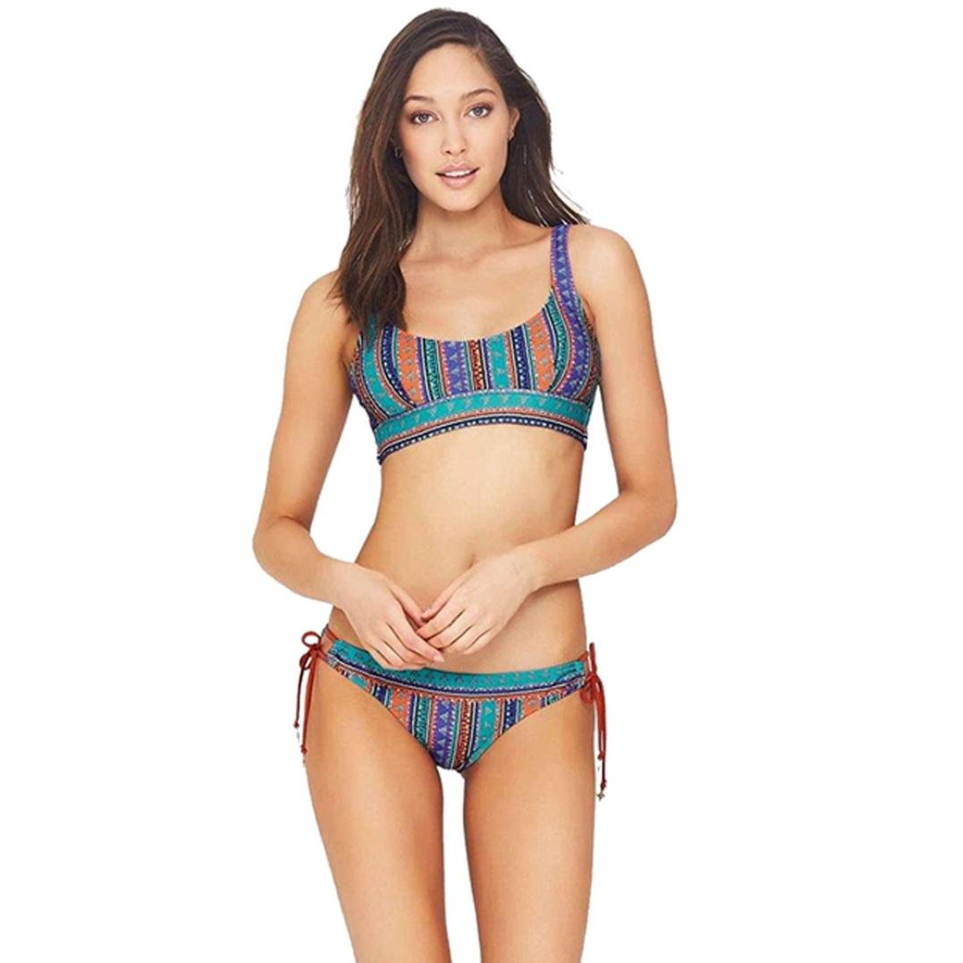 Angelof Bikini String Bohème Imprimé Femme Maillot de Bain Échancré 2 Pieces Ado Fille Natation Bikini Push Up Rembourre ANGELOF0028