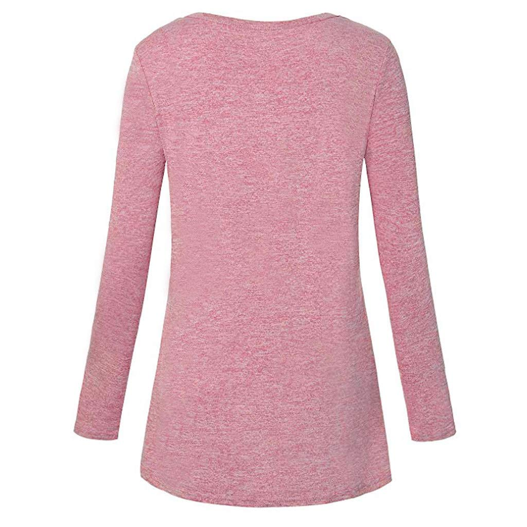 Lelili Womens Printed Casual Loose Tops Comfy Soft Yoga T-Shirt Round Neck Long Sleeve Pullover Sweatshirt